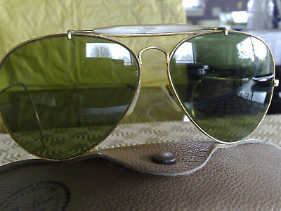 f7c55bbb7f7 RAY BAN B L Aviator 62  14 Gold Wrap Around Sunglasses (Made In The ...