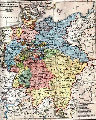 Germany Original 1897 Antique Map Chromolithograph Print