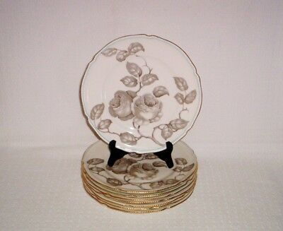 Castleton China Gloria Taupe Rose Luncheon Plates ~ Set of 8 ~ Made in USA