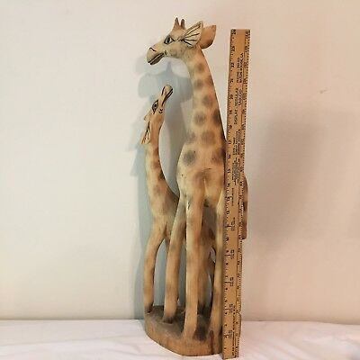 Giraffe Figurine African Statue Hand Carved Wood Sculpture Decor Mother Baby 25""