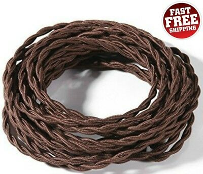 28 FT Cloth Cord Wire Twisted Cover Antique Vintage Industrial Lamp Cable Brown