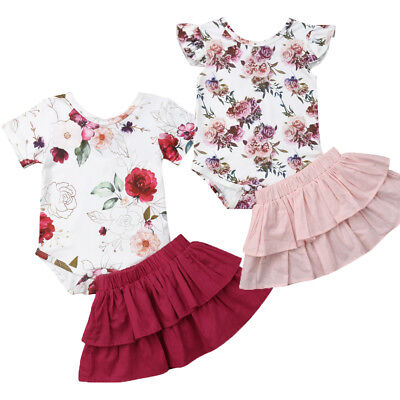 UK Cute Newborn Baby Girls Tops Floral Romper TuTu Skirts Outfits Set Clothes