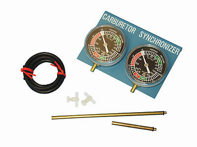 Carburetor Carb Vacuum Gauge Synchronizer Synch 2 Cylinder Guage Set Kit Bike