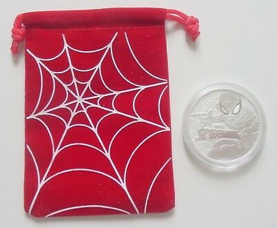 2017 Tuvalu Spider-Man 1 Oz .9999 Silver $1 Coin With Red Spider Bag