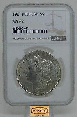1921 Morgan Silver Dollar, Certified by: NGC MS62, Free Shipping- #B13043