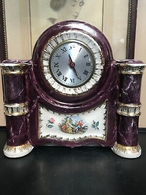 Vintage Electric Sessions Mantle Clock. By American Beauti-Lamp W/22K Gold Trim!