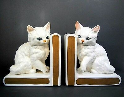 Vintage Lefton White Persian Kitty Cat Kitten Bookends Book Ends