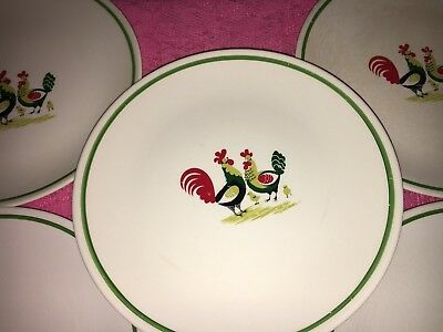 Vintage Set 5 STEUBENVILLE FAMILY AFFAIR Salad Plates ROOSTER CHICKENS CHICKS