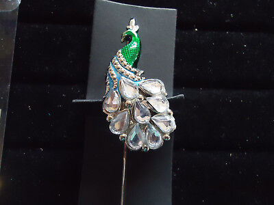 Silver Tone Metal and Green Enamel book Mark With Clear Rhinestones 5.5 inches N