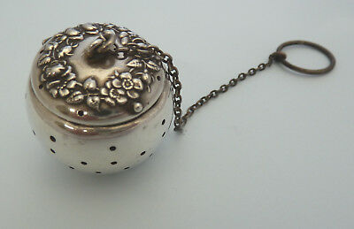 AMERICAN Solid Sterling SILVER Tea Ball TEA INFUSER . Floral Pattern