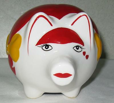 New Henriksen Imports Collectable Ceramic Hand Painted Colorful Piggy Bank