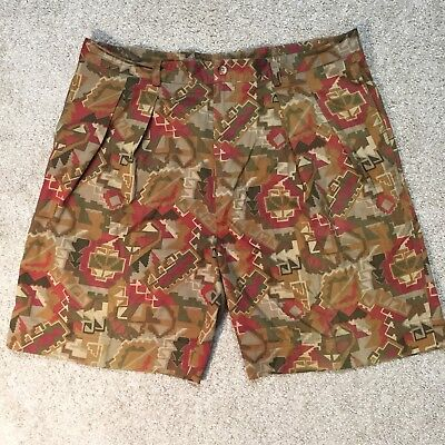 VTG Nautica Mens Aztec Southwest Native Indian Geometric Print Shorts Size 38