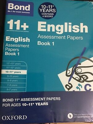 Bond 11 Plus Assessment Papers English Maths Verbal& Non VReason 10-11 4book Set