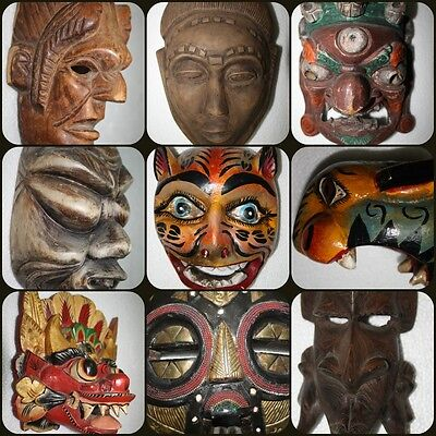 Mask Wood Hand Made Carved Vintage Collectible Home Decor Wooden Rare Super Best