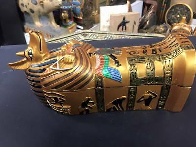 Vintage Unique Hand Made  Egyptian God Anubis Coffin Made In Egypt