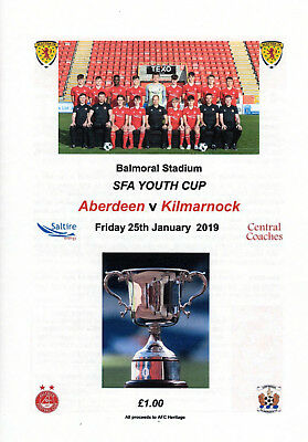 Programme - Aberdeen v Kilmarnock 25th January  2019 SFA Youth Cup