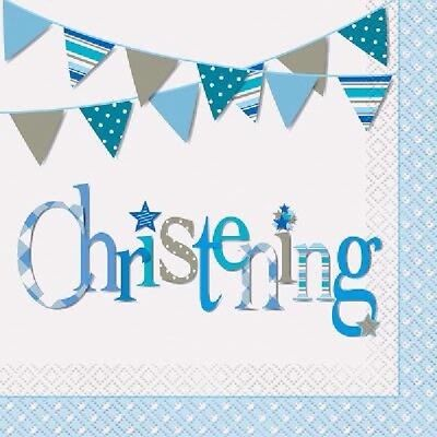 16 Napkins Blue Bunting Christening 33cm Boy Religious Party Tableware Supplies