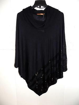 31c9f480181f9 Belldini Women s Plus Black Sequined Cowl Neck Poncho Top NWT Size 2X   3X  A1
