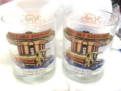 """Vintage Pair Of Gulf Oil Co. Collector Glass Tumblers """"Worlds First Drive In"""""""