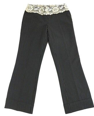 XOXO Womens Size 5 Deep Black Pinstripe Lace Cuffed Pull On Stretch Dress Pants