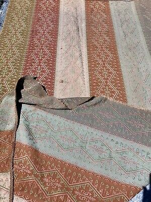 Antique Victorian 19th C Upholstery Fabric Textile Table Cover Loomed 2 + Yards