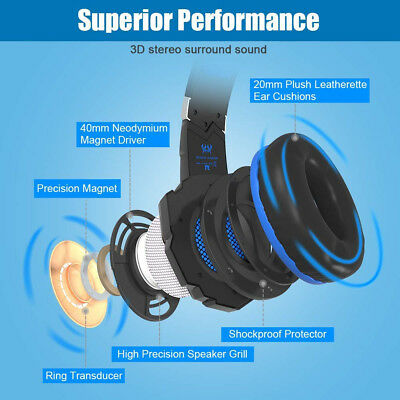 Evo Core Professional PC Gaming Headset & Mic for PS4, Xbox One, Pro LED Light