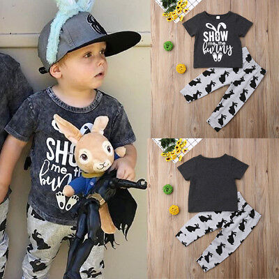AU Toddler Baby Boy Easter Clothes T-Shirt Tops+Long Leggings Casual Outfit Set