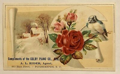 SALE: Vintage Advertising Trade Card, Colby Piano, Erie, PA, Rose and Bird