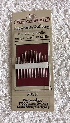 Piecemakers Betweens/Quilting needles, 20 needles. sizes 8/12. new unused