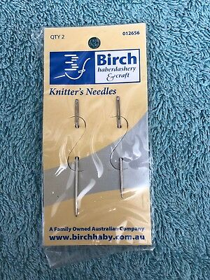 Birch Knitters' needles, 2 needles. new, unused