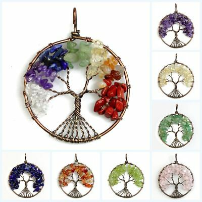 Natural Gemstones Amethyst Peridot Chips Beads Tree of Life Copper Round Pendant