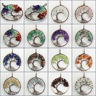 Natural Gemstones Amethyst Fluorite Chip Beads Tree of Life Copper Round Pendant