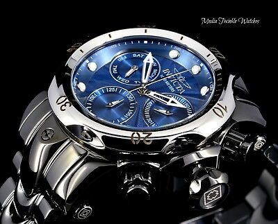 46mm Invicta MIDSIZE Venom Quartz Blue Dial Mirror Polished Black Bracelet Watch