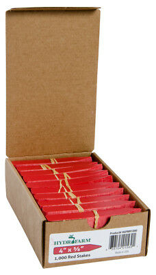 """Hydrofarm Plant Stake Labels - Tags, Red, 4"""" x 5/8"""", Case OF 1000 BAY HYDRO $$"""