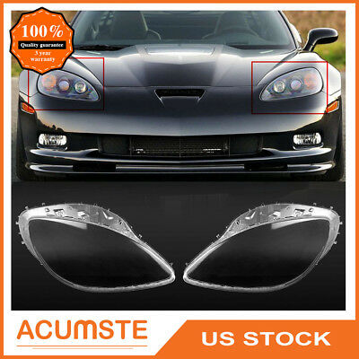 Pair For 2005-2013 C6 Corvette Headlight Replacement Lens Cover Left & Right Set