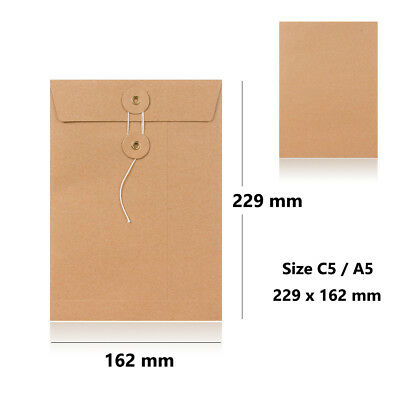 Strong Manilla String & Washer Bottom & Tie Envelopes C5 - 229 x 162 mm Size