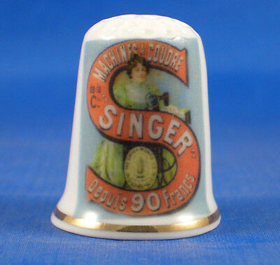 Fine Porcelain China Thimble - Singer Logo France -- Free Gift Box