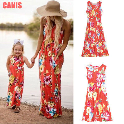 8a30d18dfb0ca US New Mommy and Me Matching Dress Mother Daughter Floral Sundress for Kid  Women