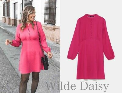 cad07a7227 Zara New Buttoned Dress Mini Pink Fuchsia A-Line High Neck Sleeves Size Xs-