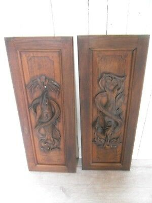Pair Antique French Solid  Carved Wood Door/Panel - fishing fish