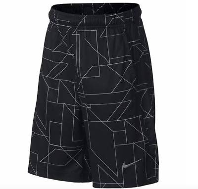 Boy's Youth Size Large Nike Print Dri-Fit Athletic Shorts Aa3091 010 Black