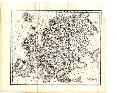 Antique Alexander George Findlay Map Of Europe - Steel-Engraved (1863)