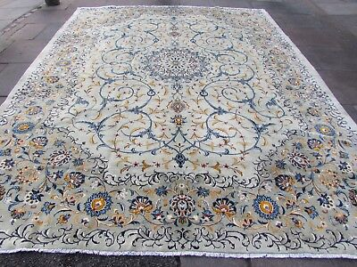 Fine Old Hand Made Traditional Persian Oriental Wool Green Large Carpet 384x292m