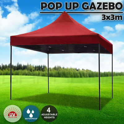 3x3m Pop Up Gazebo Outdoor Tent Folding Marquee Party Camping Market Canopy Red