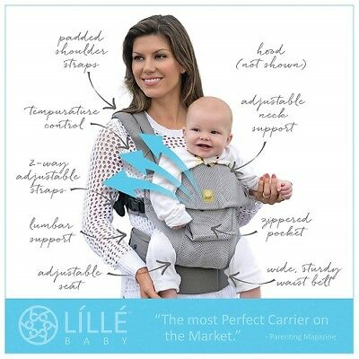 Lille Baby Complete 6-In-1 Airflow Breathable 3D Mesh Grey/silver Baby Carrier