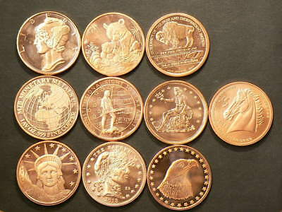 Copper Bullion 1 OZ Coins Lot of 10 Different .999 Pure Rounds #2529