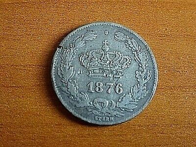 Romania Silver 50 Bani 1876 Silver Romenian World Coin SCARCE