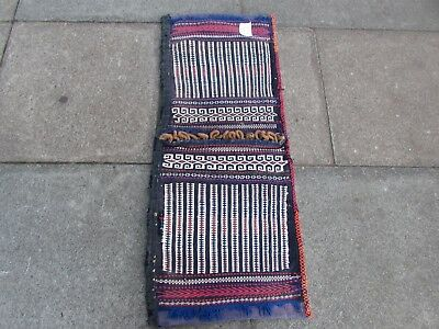 Old Hand Made Traditional Persian Oriental Cotton Brown kilim saddle Bag 110x46