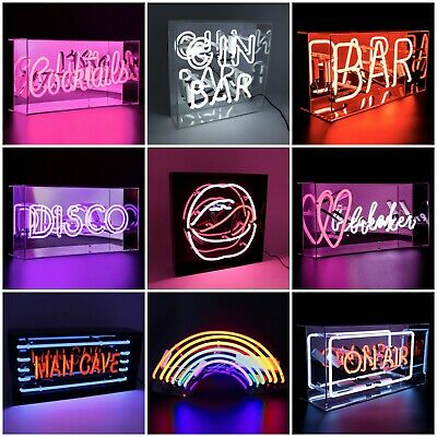 Neon LED Light Up Sign - Acrylic Light Box - Bar Cocktails Disco - Pink Red Blue
