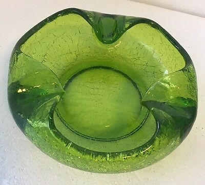 Mid Century Viking Cigar Ashtray Bowl in Rich Green Crackle Heavy Glass